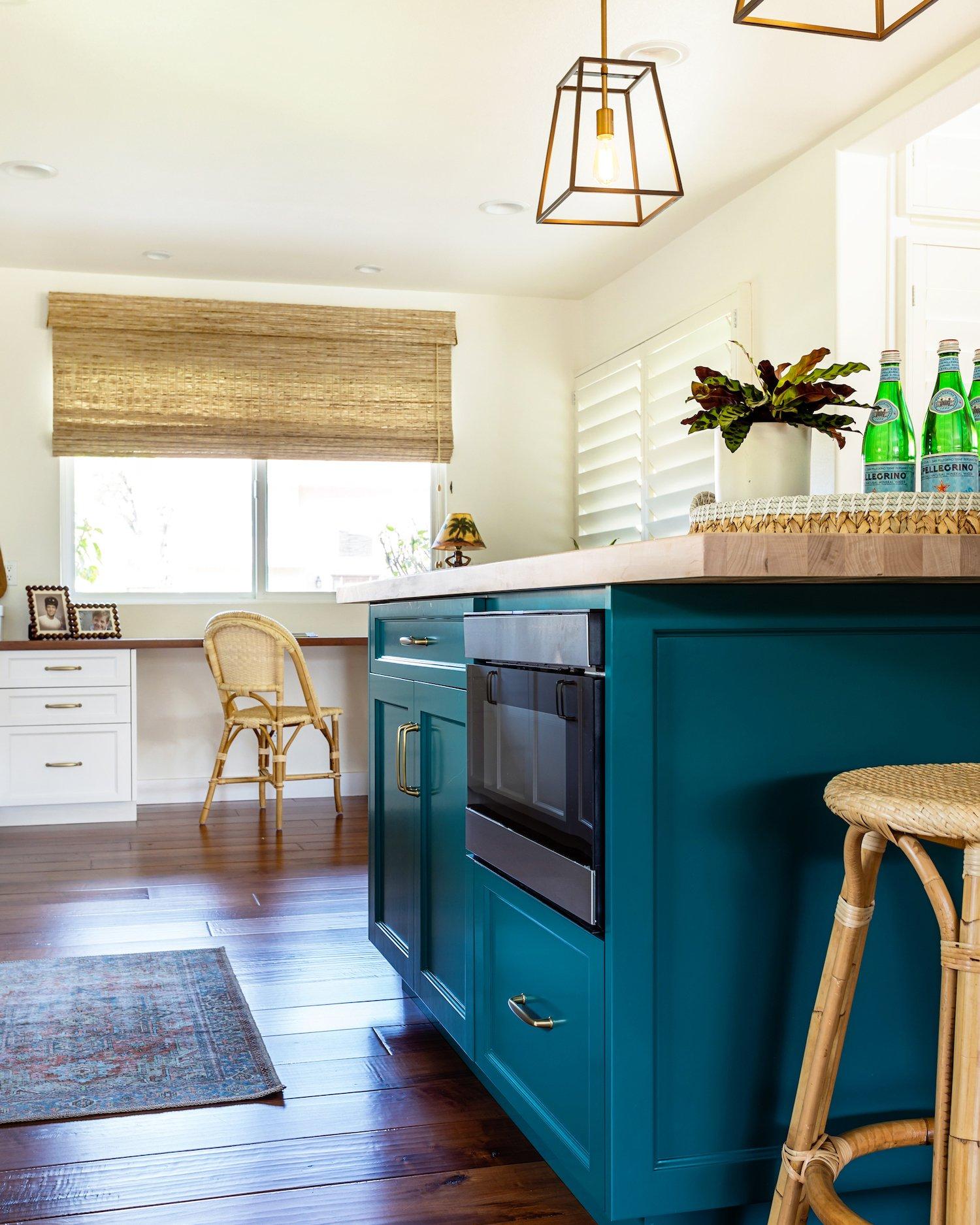 budget-friendly kitchen details - westlake kitchen renovation - turquoise kitchen island