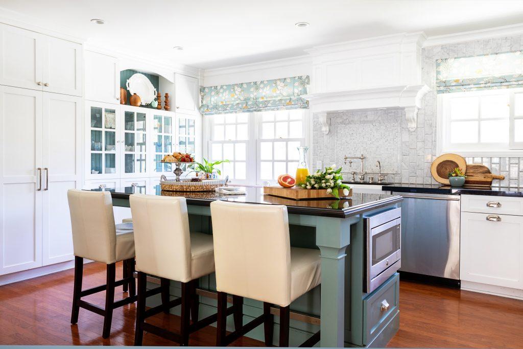 color in kitchen - hidden hills kitchen - turquoise kitchen island