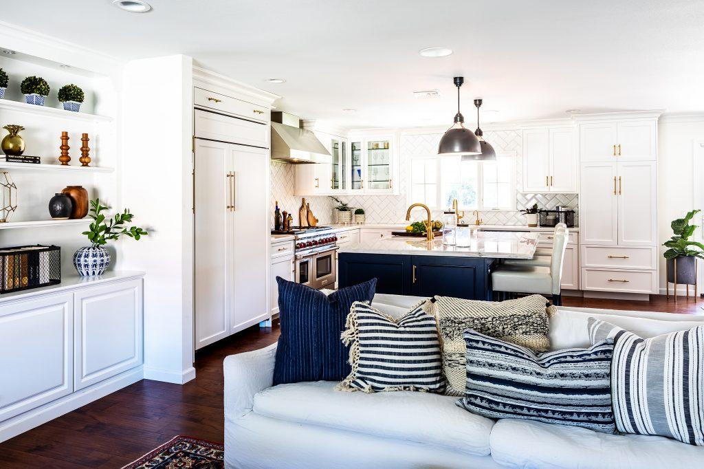 color in kitchen - westlake kitchen - navy kitchen island